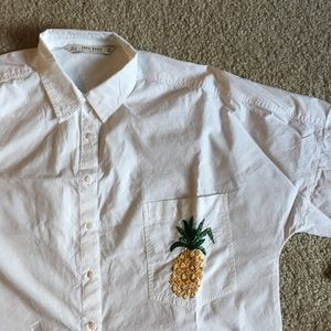 Oversized Zara Pineapple button front shirt Small